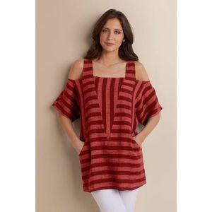 Soft surroundings size M linen cold shoulder tunic